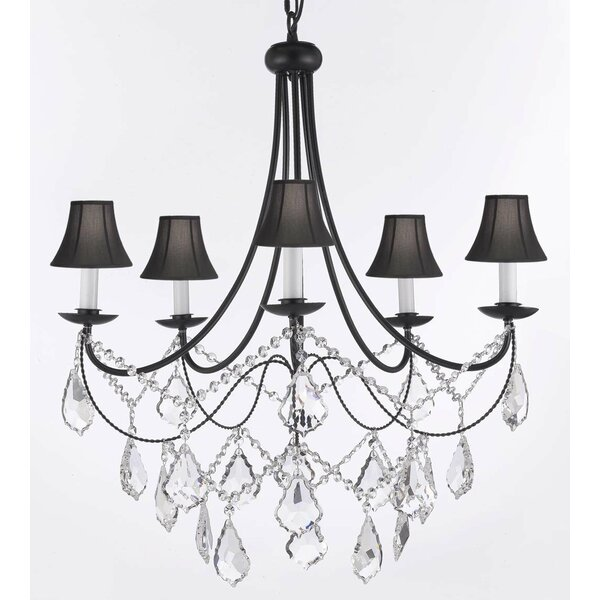 Weigand 5 - Light Shaded Classic / Traditional Chandelier with Wrought Iron Accents by Astoria Grand Astoria Grand