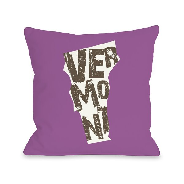 Vermont State Throw Pillow by One Bella Casa