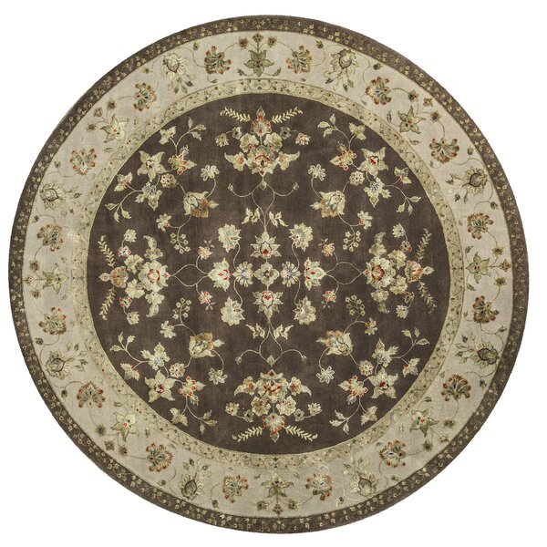One-of-a-Kind Dharma Handwoven Round 10' Wool/Silk Brown/Beige Area Rug
