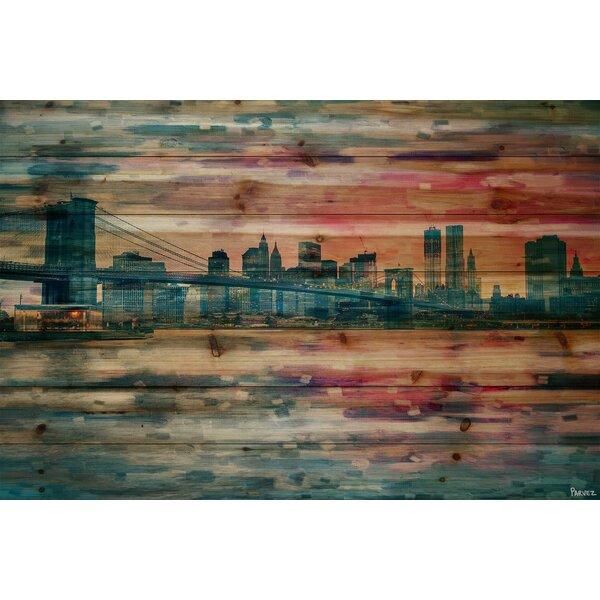 Bridge at Dusk Painting Print on Natural Pine Wood by Parvez Taj