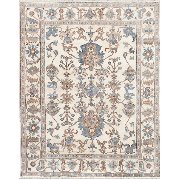One-of-a-Kind Haleburg Hand-Knotted Cream Area Rug by Isabelline
