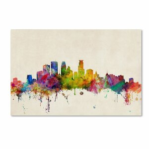 Minneapolis, Minnesota by Michael Tompsett Graphic Art on Wrapped Canvas by Trademark Fine Art