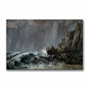 Downpour at Etretat by Gustave Courbet Painting Print on Canvas by Trademark Fine Art