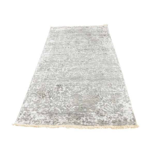 One-of-a-Kind Gustafson Broken Persian and Pure Hand-Knotted Silk Gray Area Rug by World Menagerie