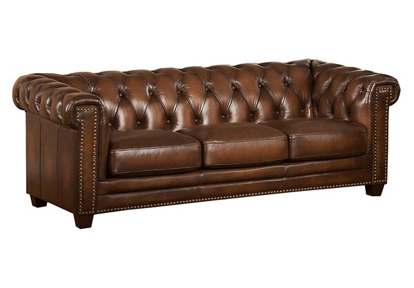 Dusty Leather Chesterfield Sofa by Canora Grey