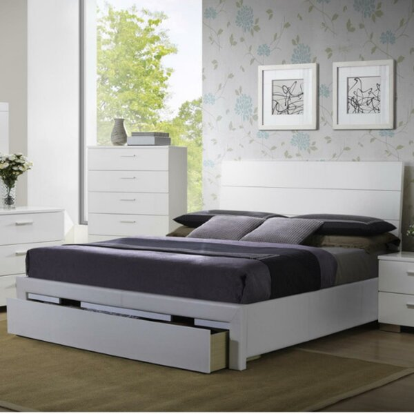 Swanky Wooden Storage Standard Bed by Benzara