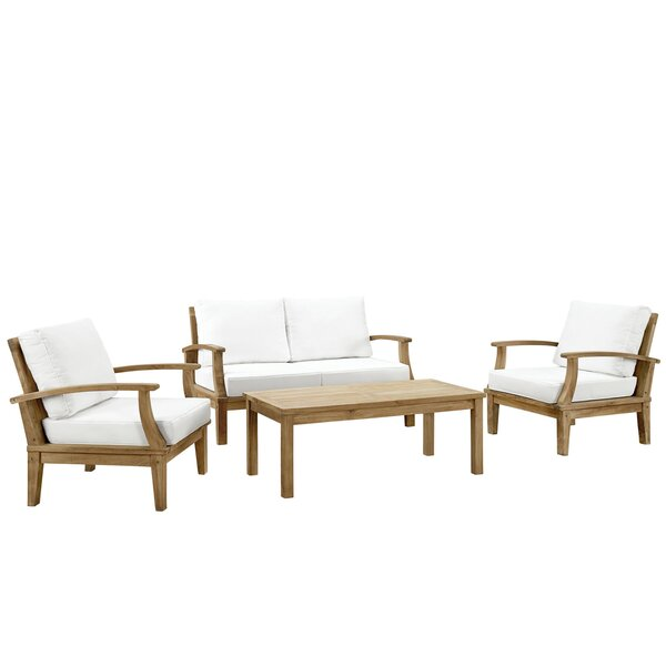 Elaina 4 Piece Teak Sofa Seating Group with Cushions by Beachcrest Home