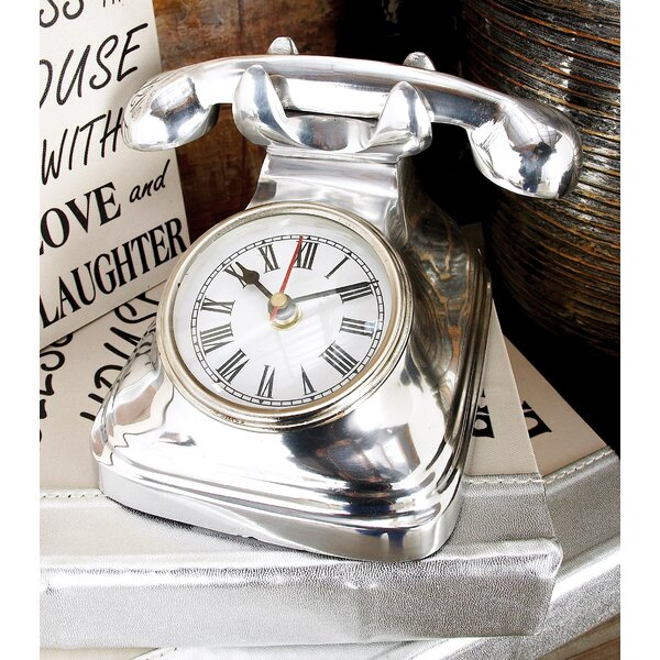 Aluminum Telephone Table Clock by Cole & Grey