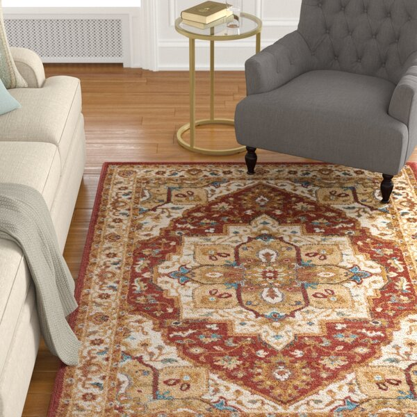 Piccirillo Crimson Red/Teal Area Rug by Astoria Grand