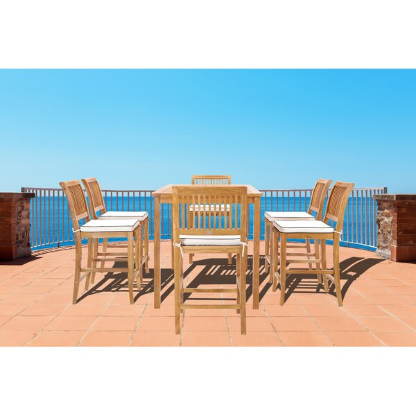 Dayne 7 Piece Teak Bar Height Dining Set