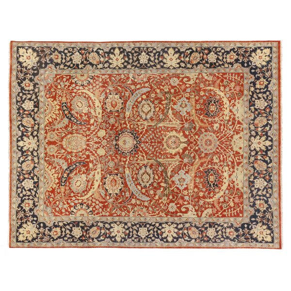 Serapi Hand-Knotted Wool Red/Navy Area Rug by Exquisite Rugs