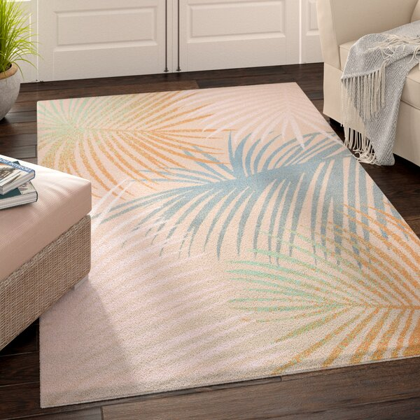 Keyla Palm Leaves Blue Area Rug by Beachcrest Home