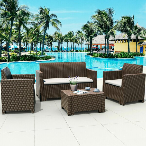 Edgar 4 Piece Sofa Seating Group by Longshore Tides