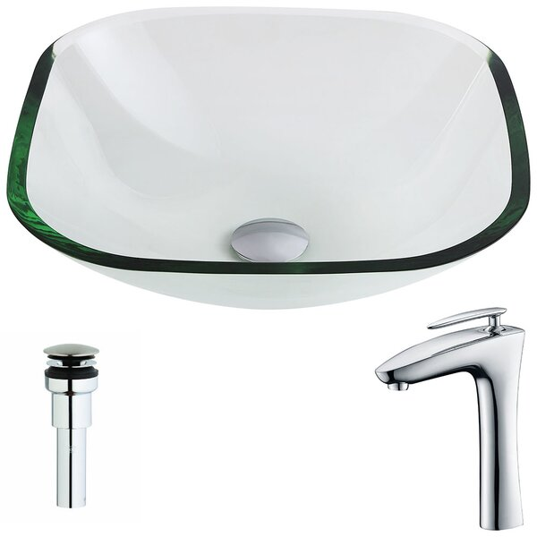 Cadenza Glass Circular Vessel Bathroom Sink with Faucet by ANZZI