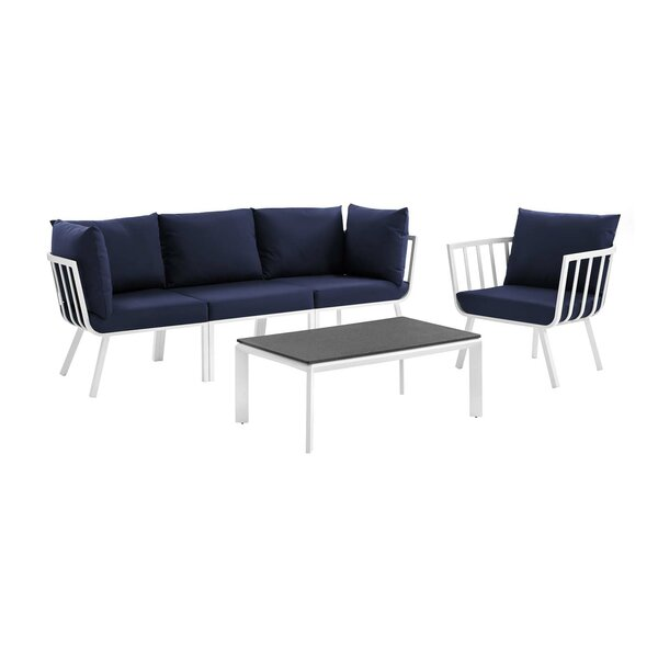 Montclaire Outdoor Patio 4 Piece Sofa Seating Group with Cushions by Brayden Studio