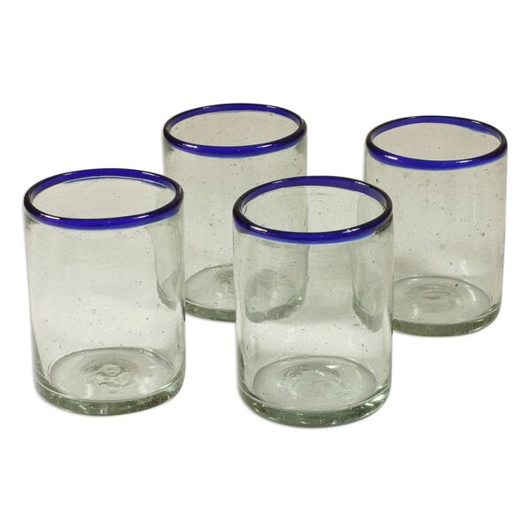 Hand Blown Recycled 10 Oz. Water Glass (Set of 4) by Novica
