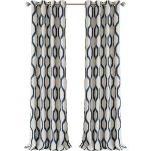 Valdovinos Geometric Blackout Grommet Single Curtain Panel