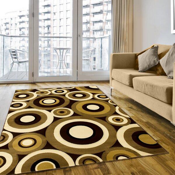 Geometric Circular Hand-Woven Chocolate/Tan Area Rug by LYKE Home
