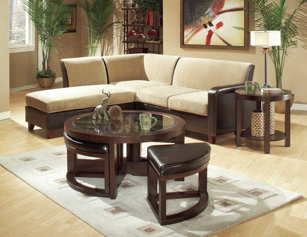 Ottoman cushion coffee table wayfair 3219 series coffee table with 4 ottomans geotapseo Images