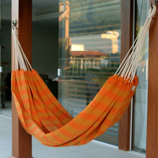 Single Person Fair Trade Striped Ceara Sunshine Hand-Woven Brazilian Cotton Indoor And Outdoor Hammock by Novica