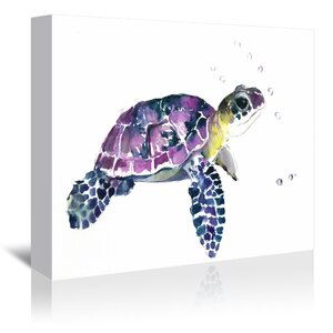 'Sea Turtle' Painting Print on Gallery Wrapped Canvas by Highland Dunes