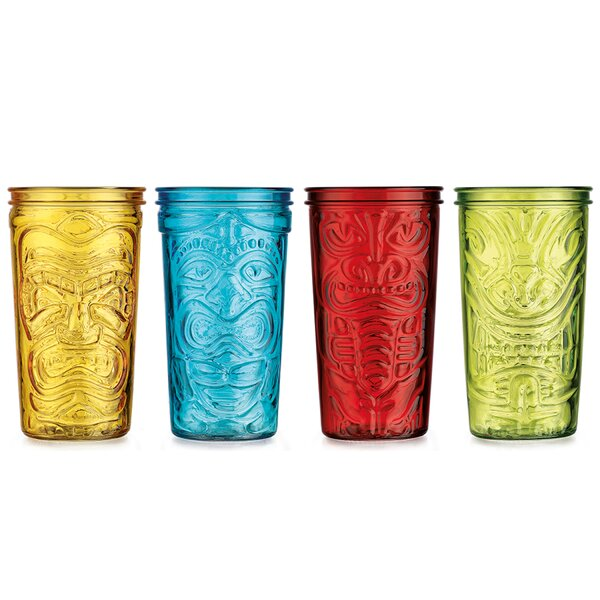 4 Piece 20 oz. Tiki Cooler Glass Set by Home Essentials and Beyond