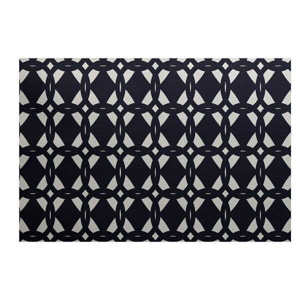 Carine Geometric Print Navy Blue Indoor/Outdoor Area Rug by Ivy Bronx