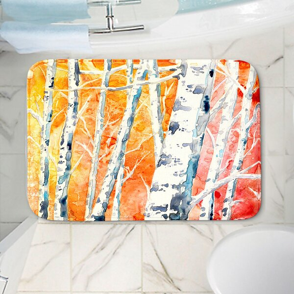 CrownPoint Falling for Color Birch Trees Rectangle Non-Slip Floral Bath Rug