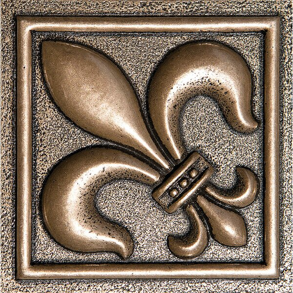 4 x 4 Fleur De Lis Deco Accent Tile in Bronze by Parvatile