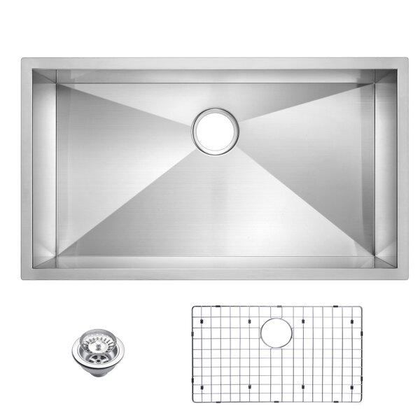 Zero Radius Stainless Steel 33 L x 19 W Single Undermount Kitchen Sink with Drain and Strainer by dCOR design