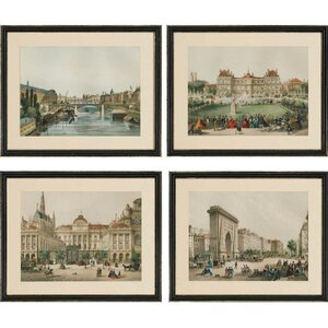 Europe View Giclee 4 Piece Framed Painting Print Set by Paragon