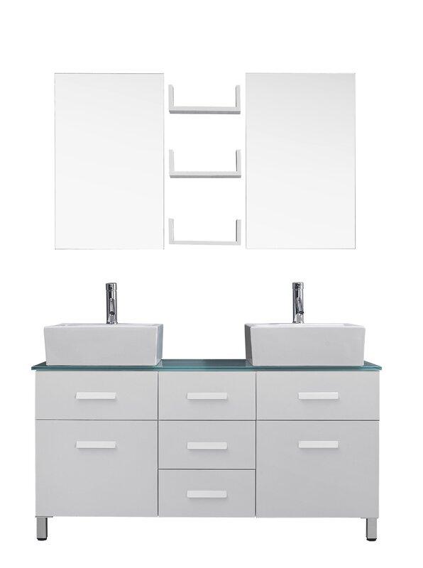 Virtu usa ultra modern series 56 double bathroom vanity set with tempered glass top and mirror for Ultra bathroom vanities burbank