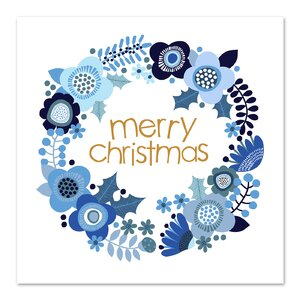 Christmas Wreath Graphic Art in Blue by East Urban Home