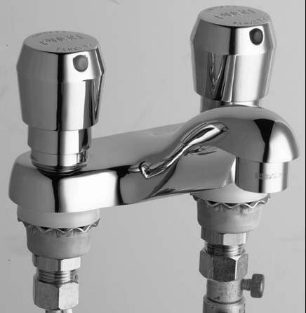Centerset Bathroom Sink Faucet with Double Pump Handles by Chicago Faucets