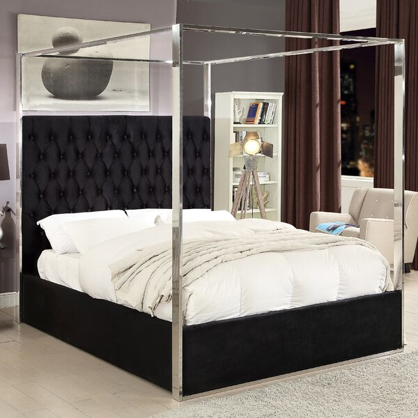Pamala Upholstered Canopy Bed by Everly Quinn