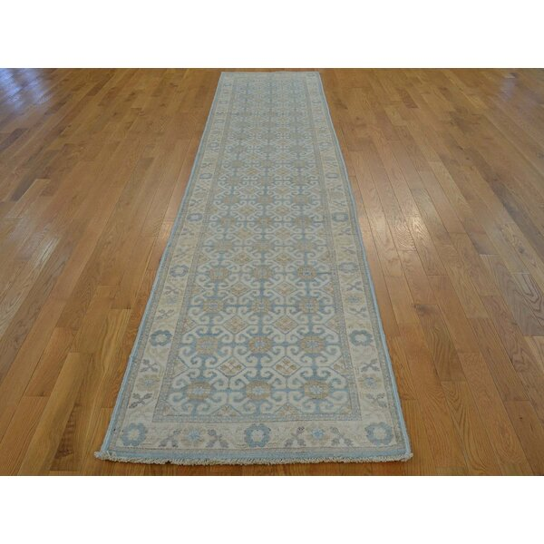 One-of-a-Kind Beauchemin Washed Out Hand-Knotted Blue Wool Area Rug by Isabelline