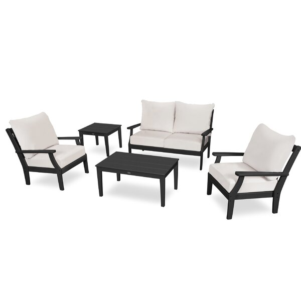 Braxton Deep 5 Piece Sunbrella Sofa Seating Group with Cushions by POLYWOOD®