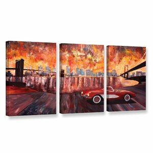 New York City-Two Bridges With A Corvette by Marcus/Martina Bleichner 3 Piece Painting Print on Gallery Wrapped Canva... by ArtWall