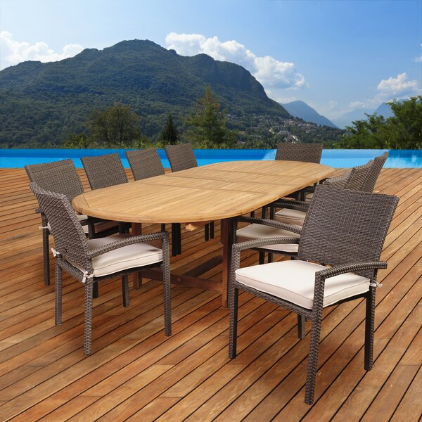 Kelemen 11 Piece Teak Dining Set with Cushions by Beachcrest Home