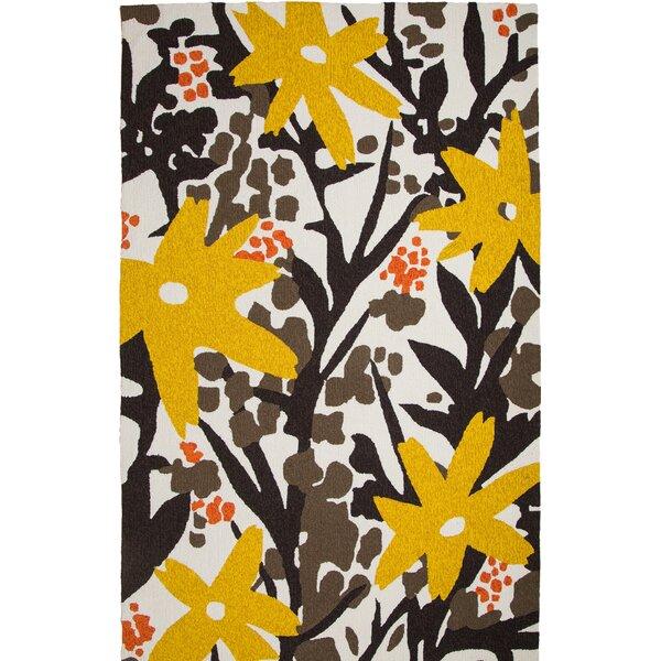 Bloom Hand-Tufted Brown/Gold Indoor/Outdoor Area Rug by Hokku Designs