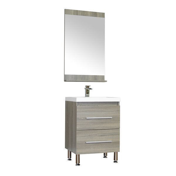 Waldwick 24 Single Modern Bathroom Vanity Set with Mirror by Wade Logan