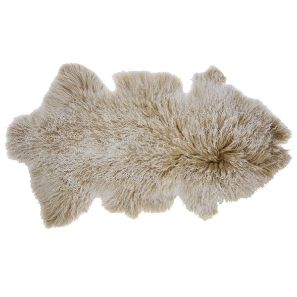Arkose Shaggy Sheepskin Beige Area Rug by Foundry Select