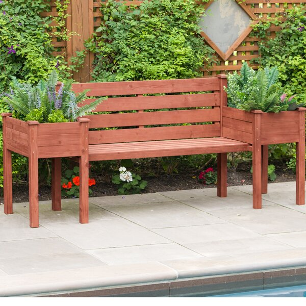 Wood Planter Bench by Leisure Season Leisure Season