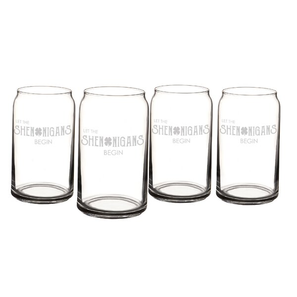 St. Patrick's Day Shenanigans 16 oz. Beer Can Glass (Set of 4) by Cathys Concepts
