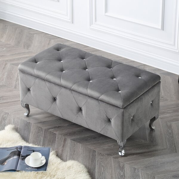 Yousef Crystal Tufted Faux Leather Storage Bench by House of Hampton