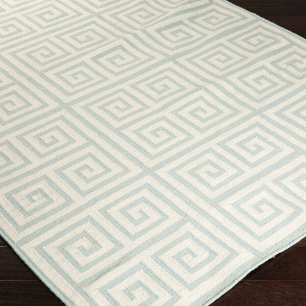 Lowery Cloud Blue/Papyrus Floral Area Rug by Ebern Designs