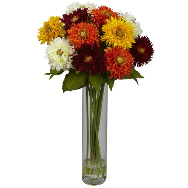 Sunflower with Cylinder Silk Flower Arrangement by Nearly Natural