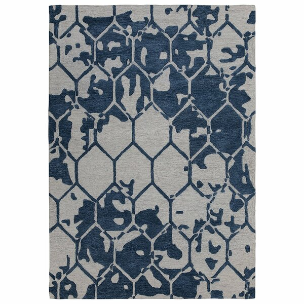 Konrad Natural Geometric Honey Comb Hand-Tufted Wool Navy Area Rug by Latitude Run