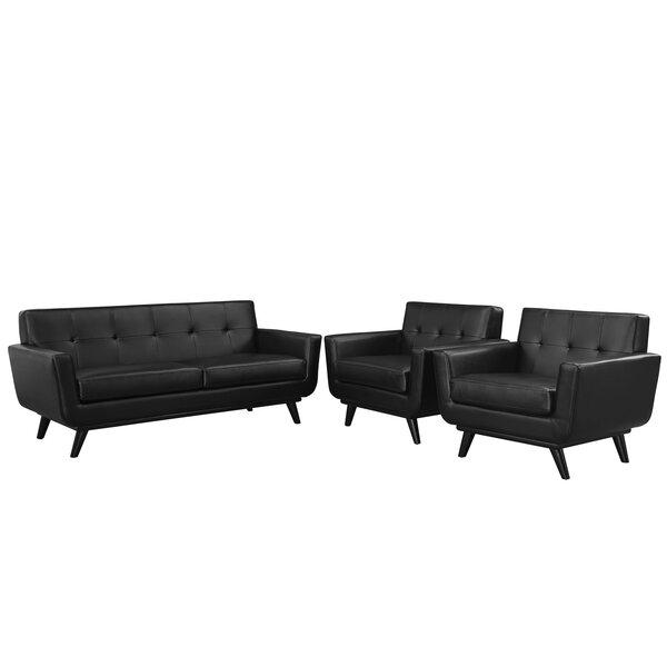 Saginaw 3 Piece Leather Living Room Set by Corrigan Studio