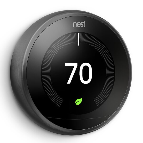 Google Nest Black Wi-Fi Enabled Thermostat By Google Nest